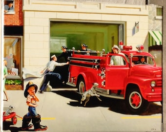 Giclee CANVAS 18x24 FIREMAN FIRETRUCK Frahm 50s Puppy Dog Dalmatian Vintage, Bath nursery children room Calendar Pinups Art Baby Shower Gift