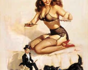 20x24 Canvas Sale Elvgren EASY TO HANDLE  Pinup with puppet, Scotty Dog lingerie, Nylons stockings, garter belt, sheer Panties Bra Pin-Up