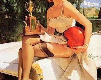 Sale ELVGREN  FAST LASS pin-up Mercedes sl stock race car pinup stockings garters trophy pinups