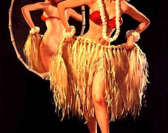 SALE - ELVGREN pin-up Drawing Straws HAwaii Island Tiki Hula pinup girl - LARGE Canvas Art