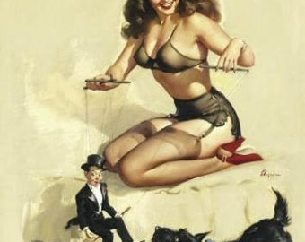 ELVGREN - EASY TO HANDLE  - PINUP - FINE ART - LIMITED EDITION - GICLEE PRINT ON WATERCOLOR ART STOCK