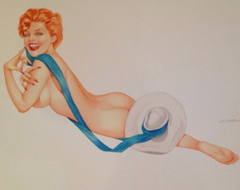 DEMARTINI Pin-Up 12x18 Art Print REDHEAD Nude MARILYN with Hat Vintage Burlesque Painting Vargas Varga pinup Great Value Sale