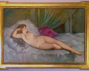 SUPER Sale! Large Romantic NUDE Art Deco 1947 ORIGINAL Oil Painting Pin-up model, Bar Room Burlesque classic Pinup 24x36