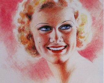 Jean HARLOW Original 30s ZOE MOZERT New Giclee Print Art Deco Movie Magazine Pin Up Calendar Illustration Pinup Painting Golden Age Pinups