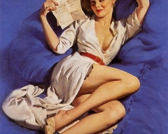 Vanguard Sale. ELVGREN Pin-Up . THINKING of YOU . Love Letters. Pen . Lingerie . Pinups . Gallery Sale