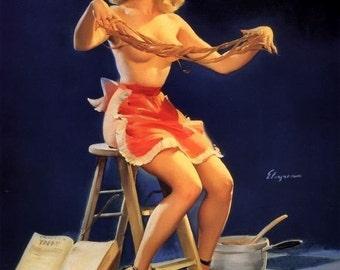 ELVGREN - THIS STICKS  - Apron, Pin-Up Burlesque Stockings Art deco Lingerie Wwii 1940's Nose Art Pinup