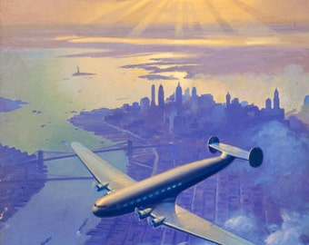 SALE Large 20x24 Sunset Over Manhattan NEW YORK Constellation Connie Art Deco Airplane Travel Vintage American Twa Pan Am United Airlines