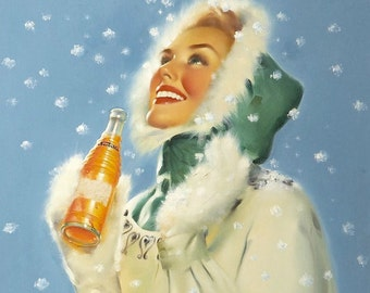 SALE Winter Time Holiday Christmas pinup RUNCI 1950's Soda Pop Pin Up NESBITT'S Orange Ad Illustrations Pinup Painter Golden Age Pinups