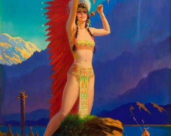EGGLESTON 12x18 DRUM SONG Art Deco American Indian Maiden Maid calendar Pinup Canvas Giclee Modern early 20th century pin-up Craftsman Homes
