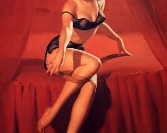 ELVGREN - I'm Not Shy  Pin-Up BURLESQUE Stockings Art deco Lingerie WWII 1940's Nose Art Pinup