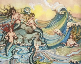 WHERE MERMAIDS COME #1 11x15 Fantasy Nouveau Glamour Pin-Up Cupid Deco Mermaid Revivalist Cosmopolitan Illustrator Muralist 1800s 20s Pinup