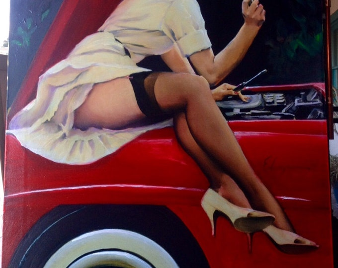 Featured listing image: ELVGREN - HELP WANTED Original Painting 24x30 Famous Pinup Vancas of Mercedes Up Skirt Pin-Up Exposes Nylons Stockings