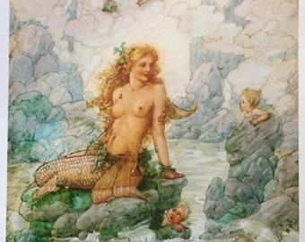 MERMAIDS STORES 11x15 Fantasy Nouveau Glamour Pin-Up Cupid Deco Mermaid Revivalist Cosmopolitan Illustrator Muralist  Pinup