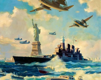 SUPER Sale NYC New York WWII Statue of Liberty Original Painting 20X24  1940s Recruitment Air Force, Navy, Marines Illustration Art Deco