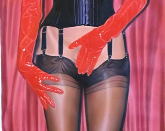FETISH Submission  PINUP GIRL 1 of 3 Original painting by  Mike Mall  Sheer Full Fashioned Seamed Stockings Corset, Gloves, garters Lingerie