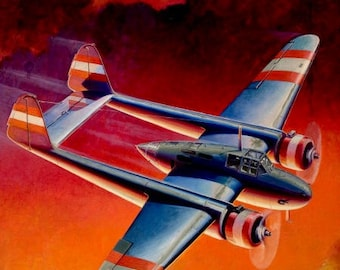Sale Large 20x24 Canvas FIRE in the SKY p-38 Airplane Pulp wwii 30s 40s illustration Famous Fighter Aircraft 2nd World war Aviation pinup