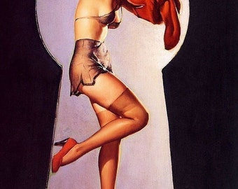 ELVGREN - PEEK A View  - Art Deco Pin-Up - Lingerie, Stockings and Bath Illustration Pinup - Giclee fine art limited edition