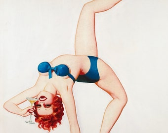 Pinup MARTINI TIME by Enoch Bolles Art Deco Flapper Pin-Up  Originals Available 12x18