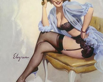 Sale ELVGREN WELL SEATED Flirting Pinup in see through lingerie, negligee, stockings, black garters panties and bra Gil Elvgren by Vanguard
