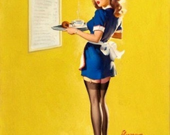 Huge Sale Large Canvas ON The MENUE  by ELVGREN Pin-Up Lingerie Nylons Stockings pinup Swing