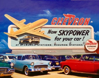 SKYPOWER 1956 ORIGINAL Painting VANCAS Midcentury Auto Aviation Los Angeles Airport Airplane Gas Station Chevron Buick Chevy Thunderbird DC6
