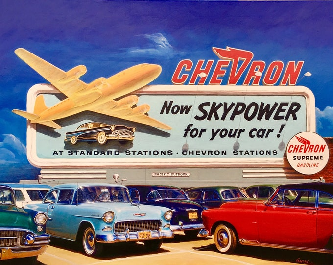 Featured listing image: SKYPOWER 1956 #2 ORIGINAL Painting VANCAS Midcentury Auto Aviation Los Angeles Airport Airplane Gas Station Chevron Buick Chevy Thunderbird