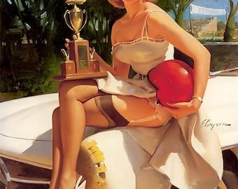 ELVGREN 2 for 1 HOTROD SALE -  Burlesque Pinup - Calendar up skirt stockings Pin-Up nylons Automobile Gas Station Retro Art  Signed