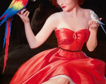 12X18 Print - Sale - BRADSHAW CRANDELL Red Dress Glamour Pin-Up Parrot Parakeet Budgie Deco Pin-Up - Cosmopolitan Illustrator of 40s - Pinup