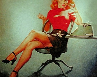 Gil Elvgren Mid Century The perfect pinup - MAD MEN OFFICE - Secretary Girl Pin-Up exposes legs, stockings at typerwriter 12x18 Art Paper