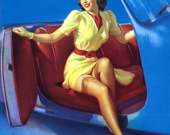 SALE . Elvgren SPORTS MODEL . Hot Rod Car  Pin-Up, Vintage Dress, Stockings Up Skirt pinup  Deco. Canvas Giclee