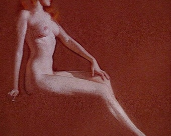 LARGE 20x24 Canvas - Sale - BRADSHAW CRANDELL 1930's Nude Art Deco Pin-Up From Original Painting - Cosmopolitan  Girl Cover Painter - Pinup