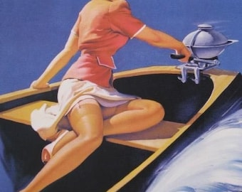 ELVGREN SAILOR GIRL in Motor Boat  - Pin-Up Deco - Bathroom pinup - 1940,s calendar art. Fine Art Giclee Print.