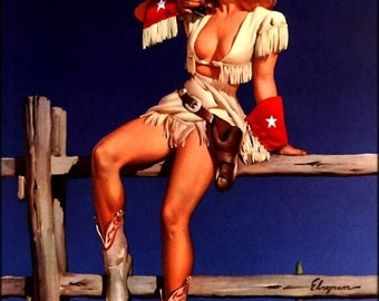 ELVGREN - AIMING to PLEASE - Pin-Up - Texas, Colt Peace maker, Cowgirl, Cowboy, Pinup, Gun, Boots, 1940's, 50s - Calendar Illustration 12x18