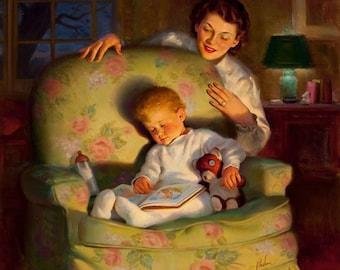 BEDTIME STORIES Art Frahm Mother and Baby Super Sale Baby Shower Large Apx 20x20 Canvas 40s Retro, nursery children Calendar Pinups Art