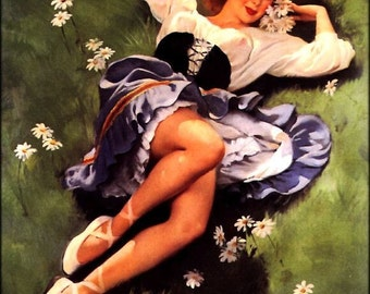 Vanguard Pin-Up Sale. ELVGREN pinups. LAZY DAYS. Retro Deco Lingerie Up Skirt Pinup. Large Canvas.  Gallery Sale