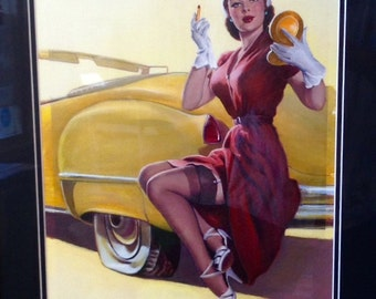 HUGE Estate Sale! Elvgren -ROADSIDE HELP Original Painting 16X20 Rare 1998 Pinup Vancas of Cadillac Up Skirt Pin-Up Exposes Nylons Stockings
