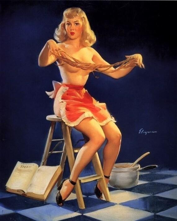 Naked In The Kitchen: Ähnliche Artikel Wie Gil ELVGREN THIS STICKS Kitchen