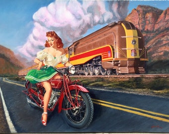 40X30 Canvas Signed Pinup INDIAN 1930s MOTORCYCLE by Daniel VANCAS Art Deco Streamline Train 1939 Union Pacific 49'r Pin-Up Like Gil Elvgren