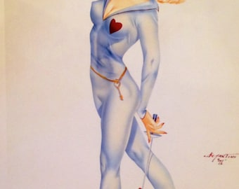 VALENTINE Key to my Heart DEMARTINI Pin-Up 12x18 Print Fencing Swords Vintage Burlesque Painting Vargas Varga pinup Great Value Sale