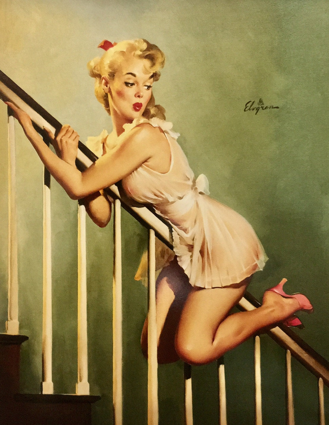a309bbbccfe Large 12x16 LOOK OUT BELOW by Elvgren Pin-Up Playing Lingerie ...