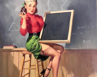 Gil ELVGREN Original Painting 1947 All The RIGHT ANGLES PinUp Stockings Garters Rare Famous Pin-Up Student Old School! Never offered before!