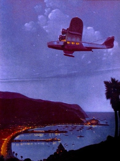 Sale Large 20x24 SUNSET Over SOUTHWEST Dc-3 Art Deco Airplane Travel