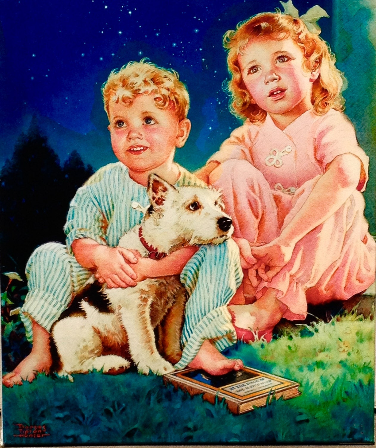 BEDTIME STORY by HUNTER 12X18 Little Girl and Boy with