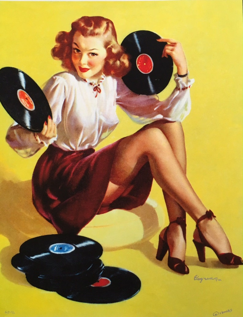 15f1e74212b Large 12x18 ON the RECORD by ELVGREN Pin-Up Playing music