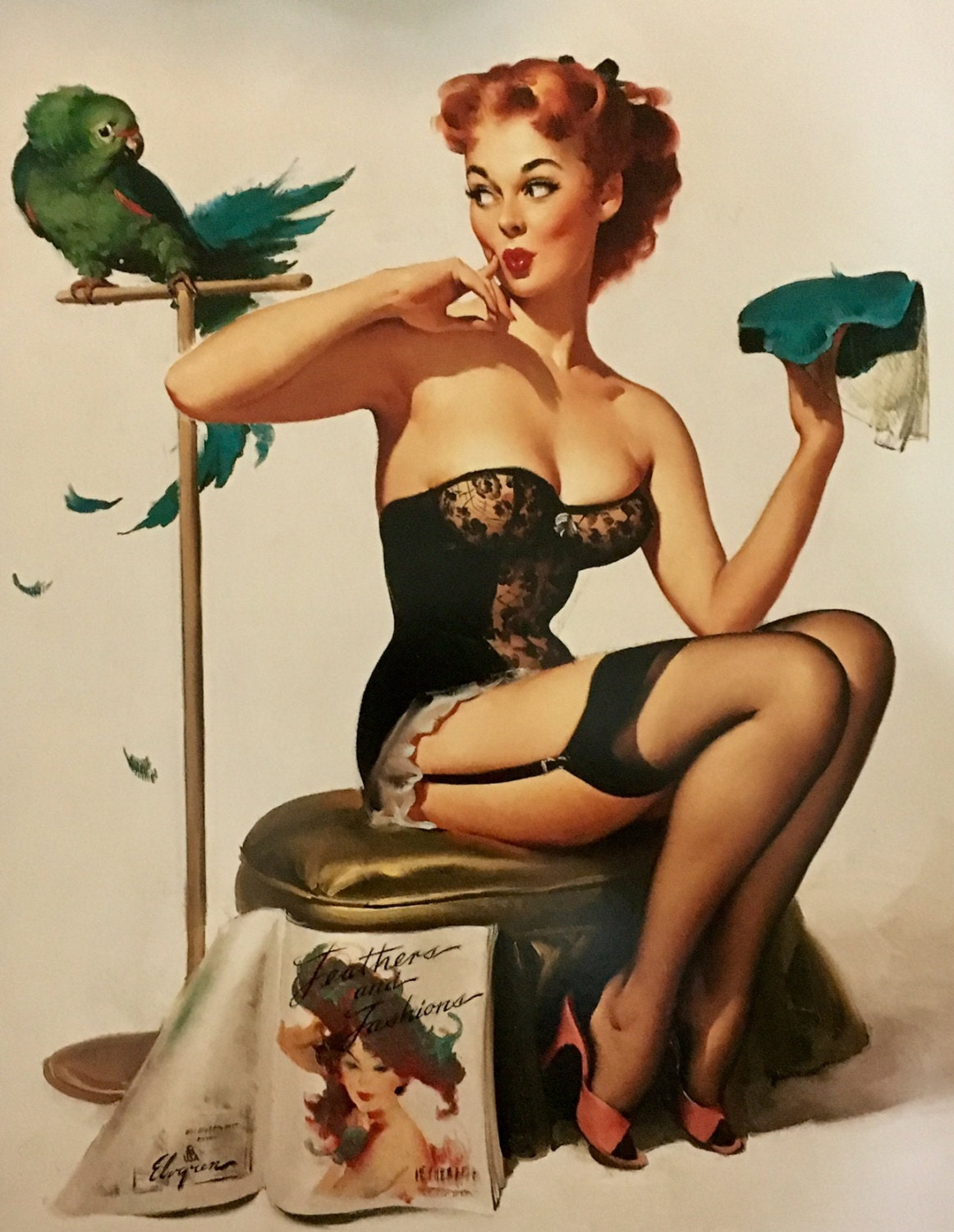 020a91805dd Large 12x16 NO YOU DON T by Elvgren Corset Pin-Up Playing ...