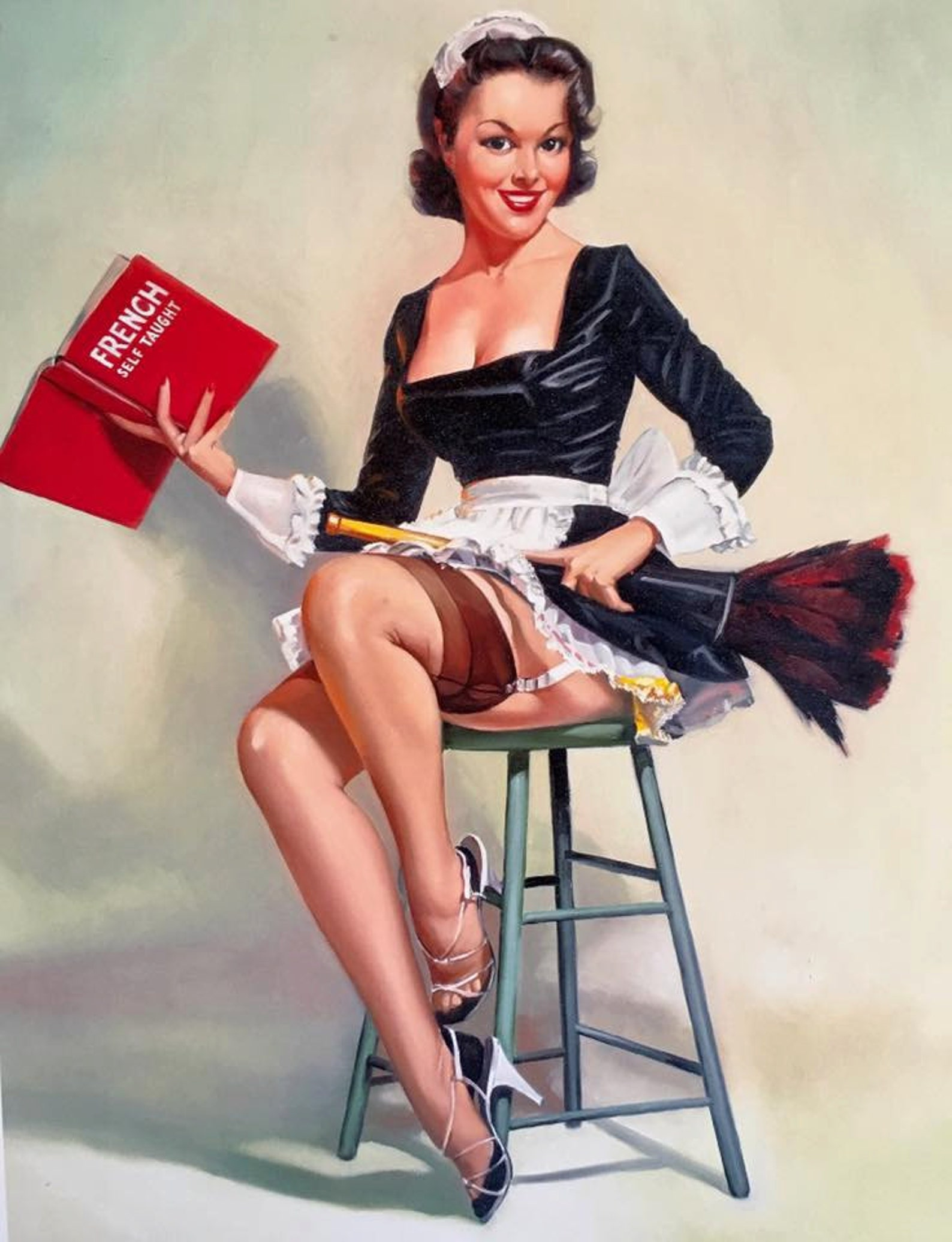 Vintage retro sun tan pinup girl poster by rbent