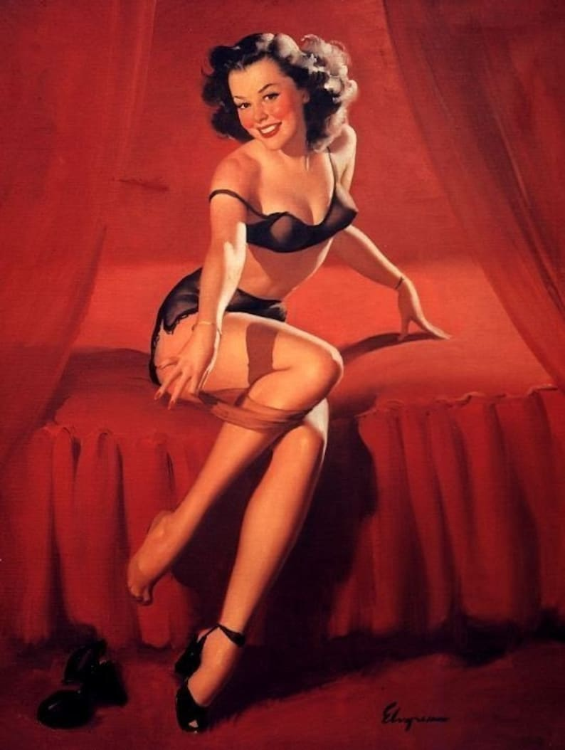 """Pants Lovely Female Pin-up Modern Nude Woman Wearing Suspenders 8.5x11/"""" Print"""