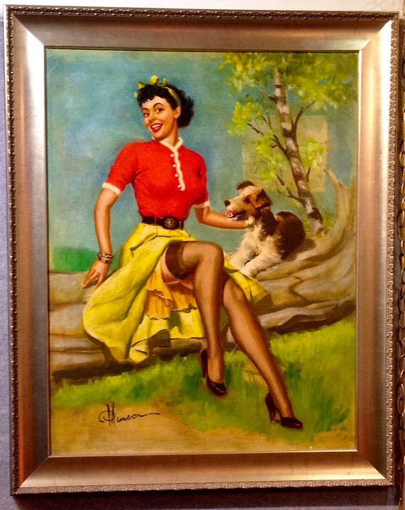 1940s Pin-Up Girl /& Fox Terrier Puppy Dog Vintage Pin Up Poster Print Art