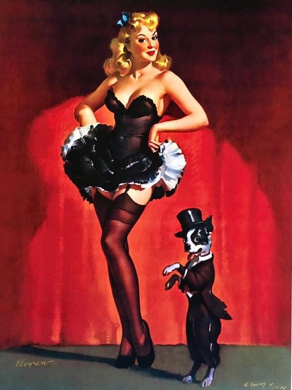 yet not vulgar better super cute ELVGREN - LUCKY DOG Burlesque pin-up with corset, garters, nylons stockings  and Boston Terrier Pinup