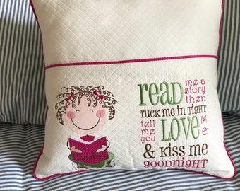 Boy or Girl reading pillow